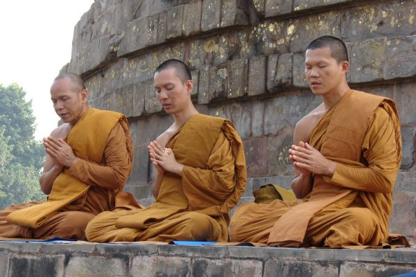 Dhameka Stupa--monks